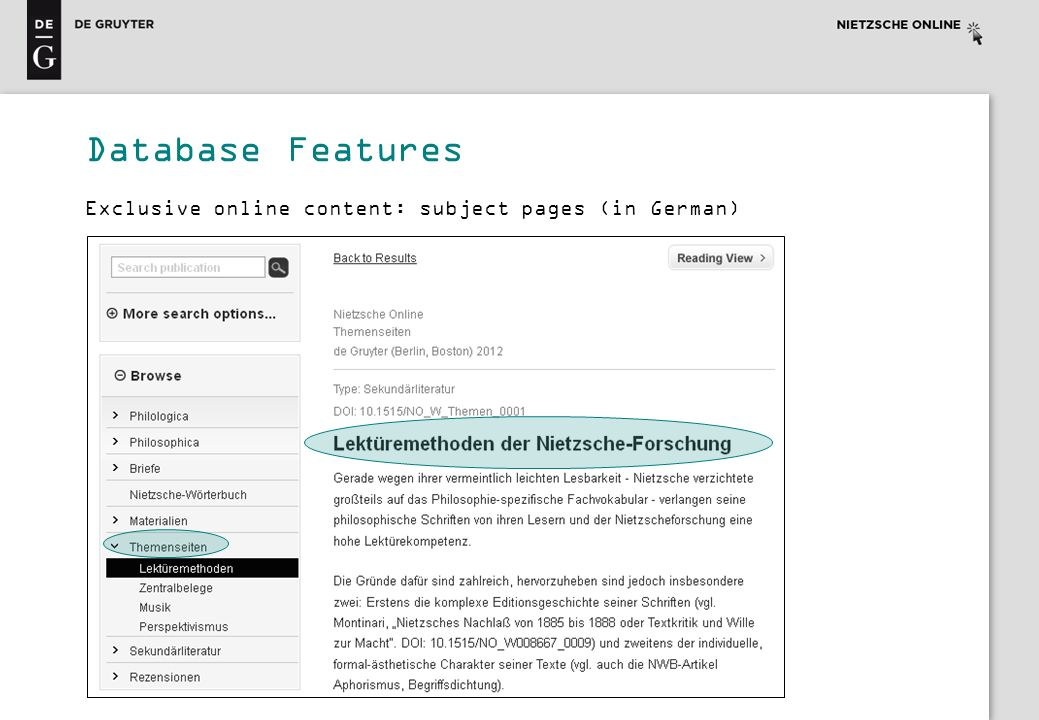 Database Features Exclusive online content: subject pages (in German)