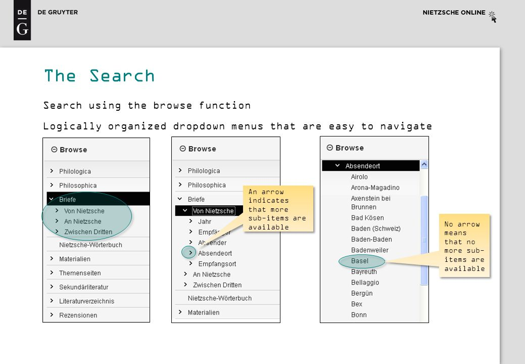 The Search Search using the browse function