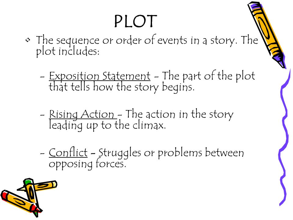PLOT The sequence or order of events in a story. The plot includes: