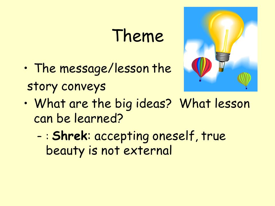 Theme The message/lesson the story conveys