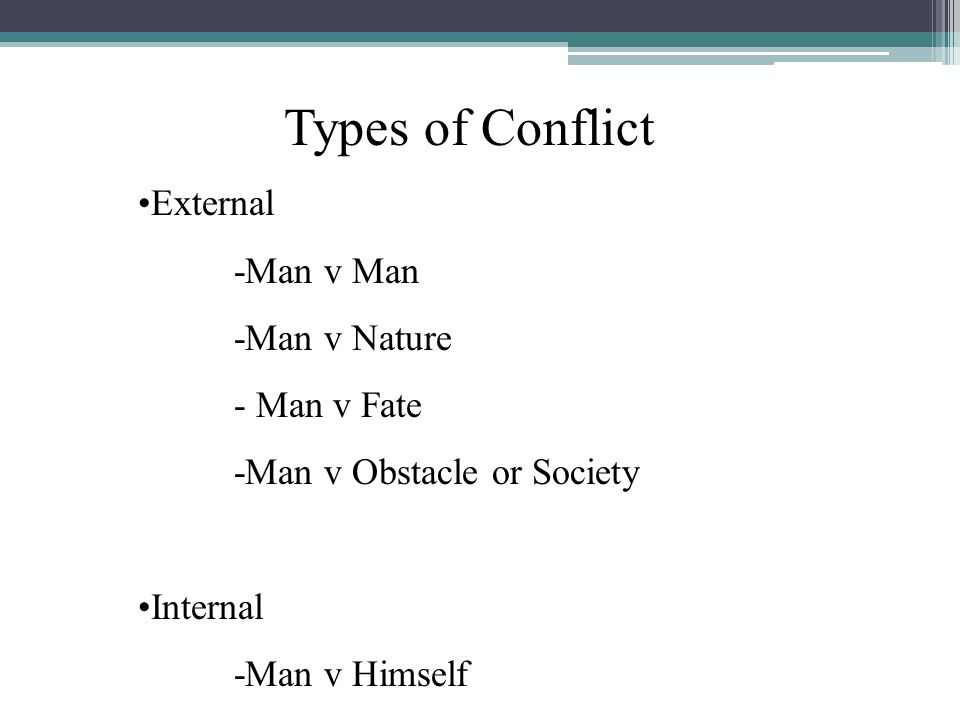 Types of Conflict External -Man v Man -Man v Nature - Man v Fate