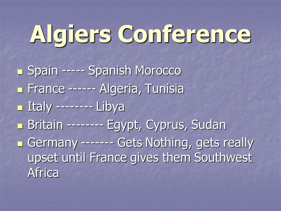 Algiers Conference Spain Spanish Morocco