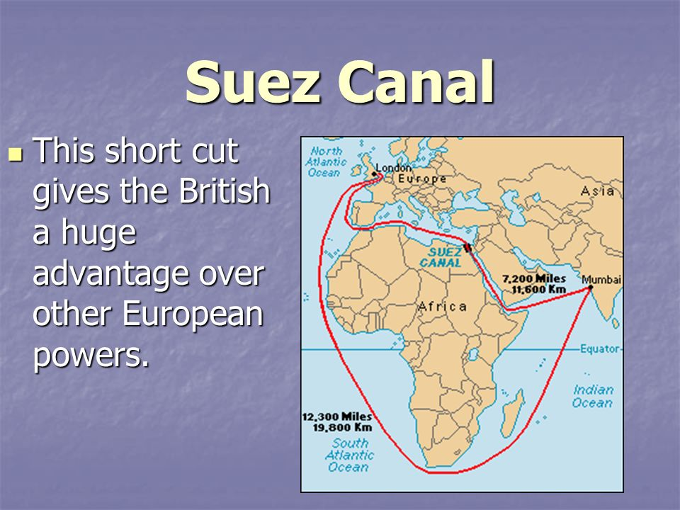 Suez Canal This short cut gives the British a huge advantage over other European powers.