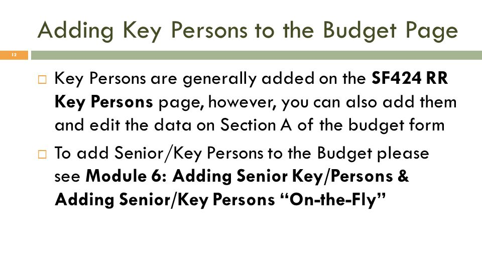 Adding Key Persons to the Budget Page