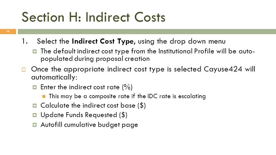 Section H: Indirect Costs