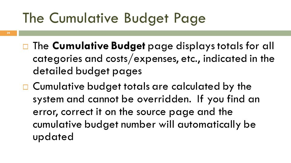 The Cumulative Budget Page