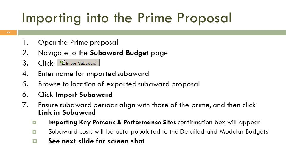 Importing into the Prime Proposal