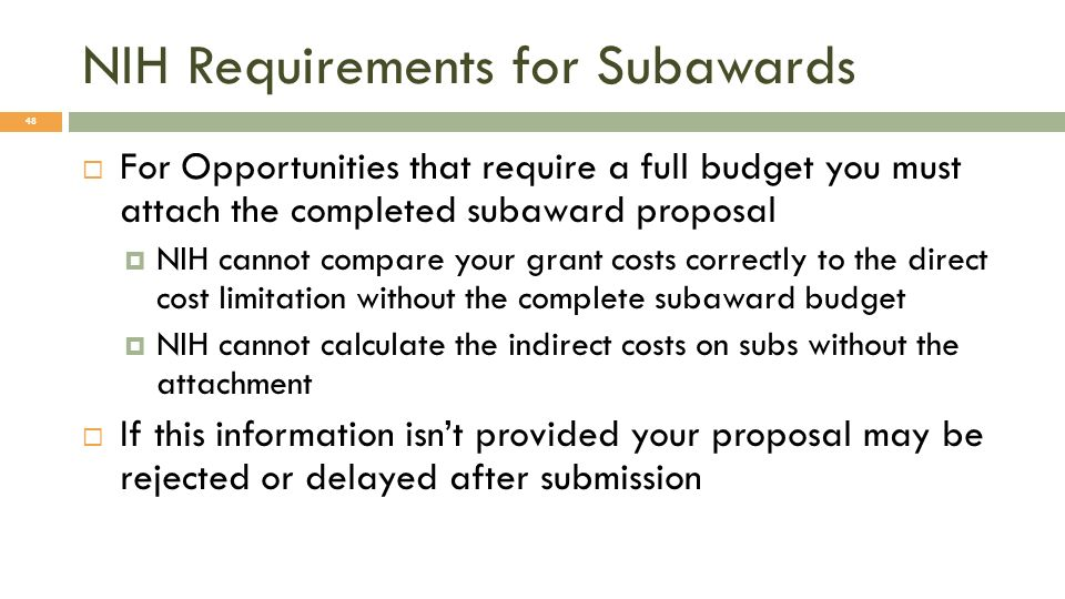 NIH Requirements for Subawards