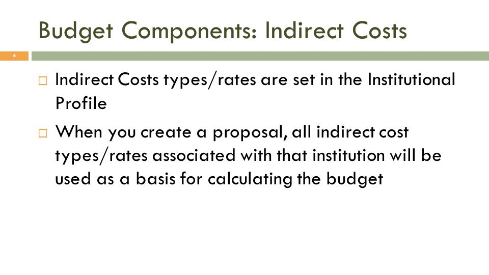 Budget Components: Indirect Costs