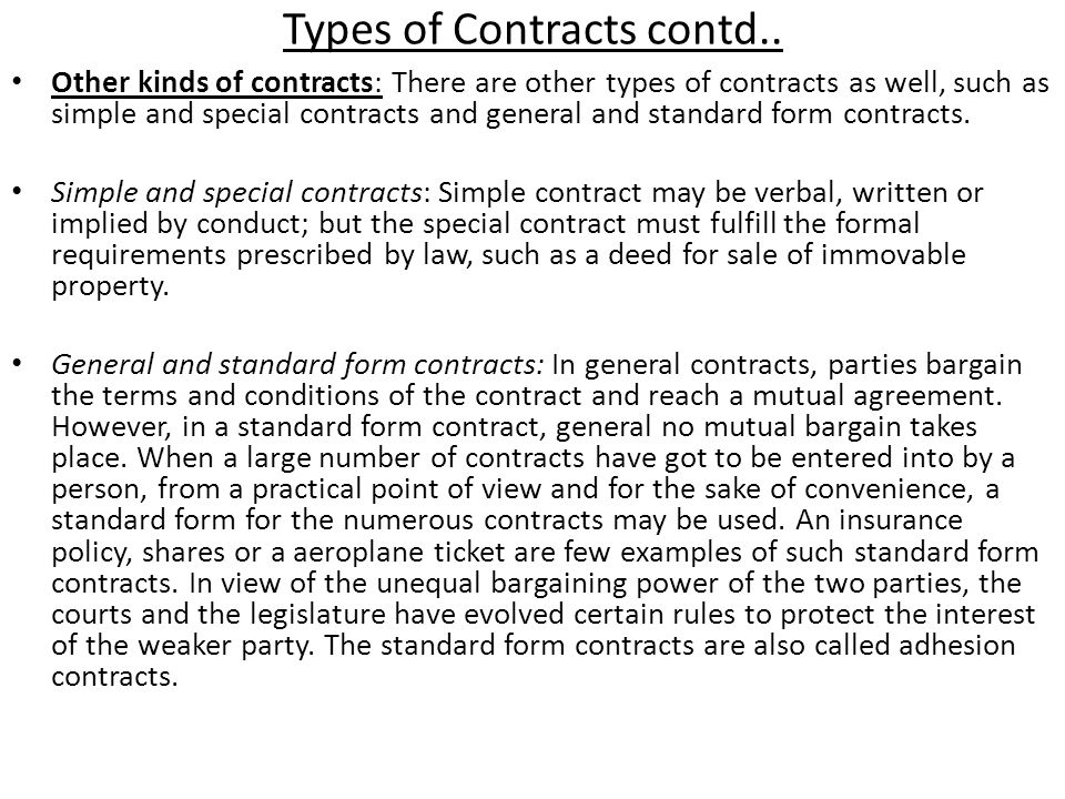 Types Or Kinds Of Contracts Ppt Video Online Download