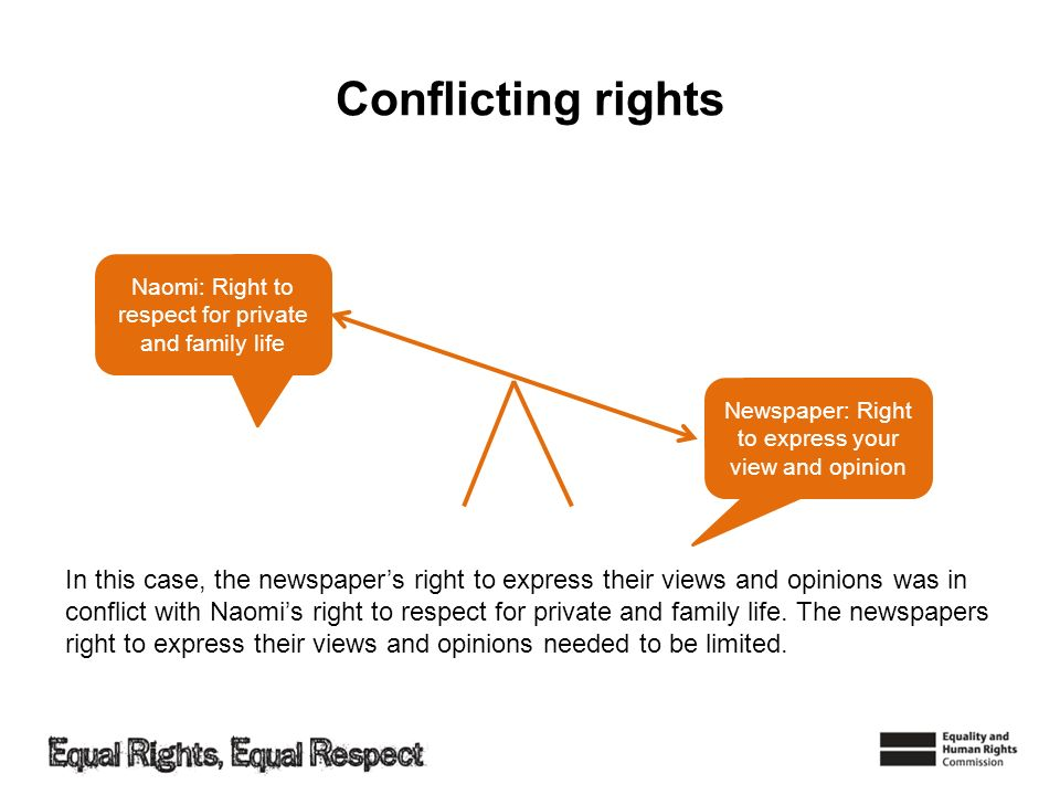 Conflicting rights Naomi: Right to respect for private and family life. Newspaper: Right to express your view and opinion.