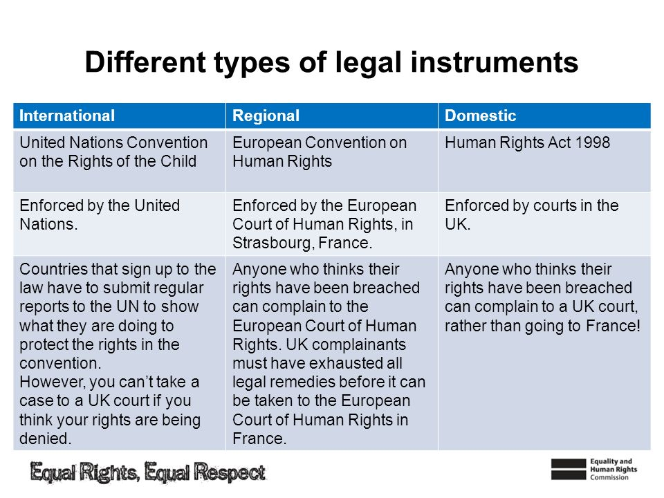 Different types of legal instruments