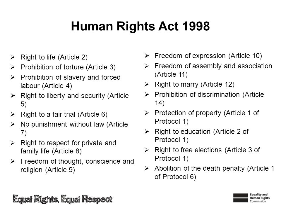 Human Rights Act 1998 Right to life (Article 2)