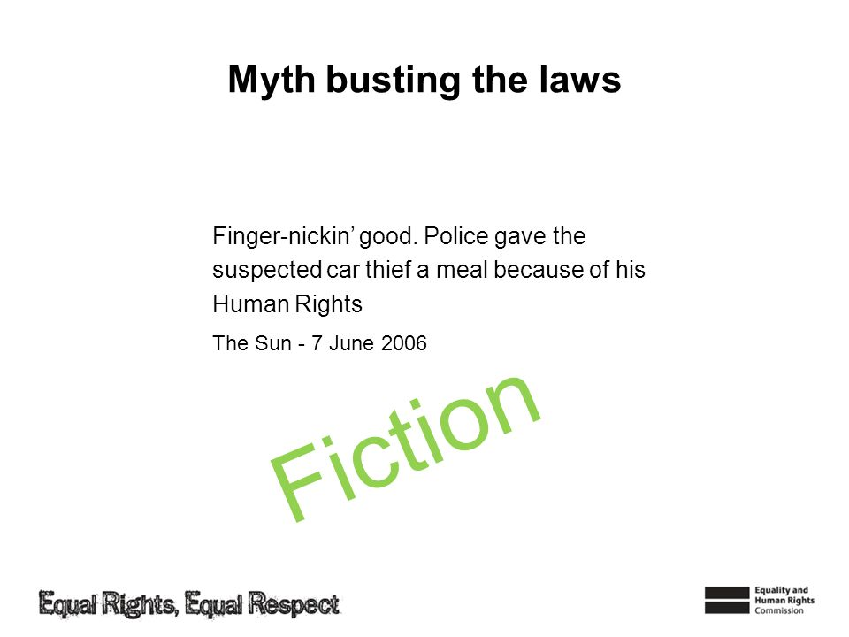 Fiction Myth busting the laws Finger-nickin' good. Police gave the