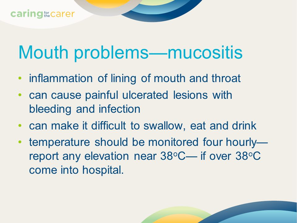 Mouth problems—mucositis
