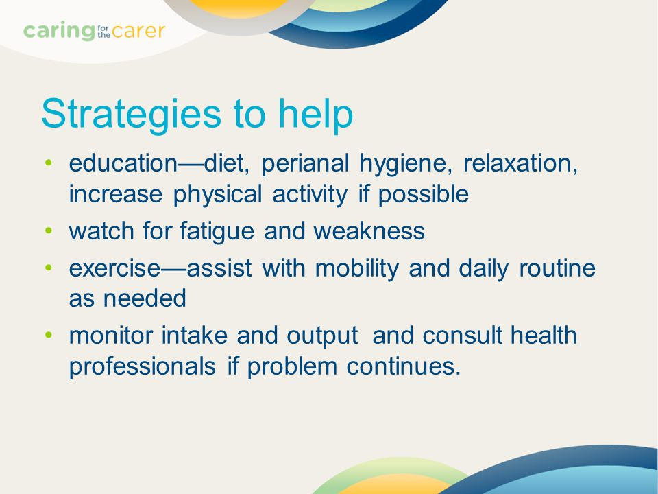 Strategies to help education—diet, perianal hygiene, relaxation, increase physical activity if possible.