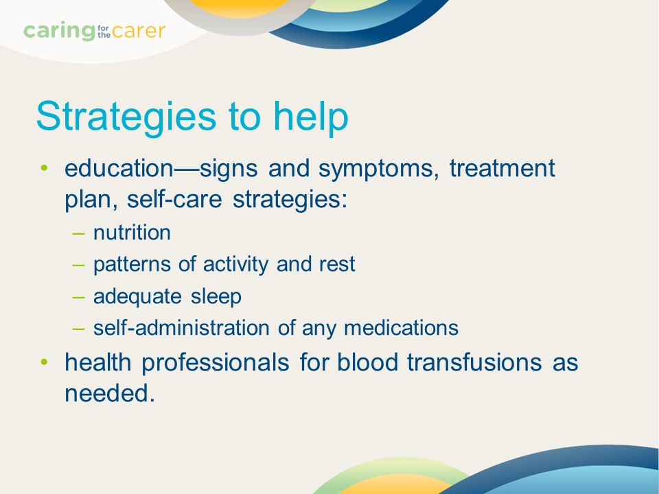 Strategies to help education—signs and symptoms, treatment plan, self-care strategies: nutrition. patterns of activity and rest.
