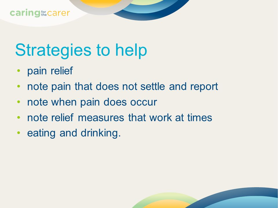 Strategies to help pain relief