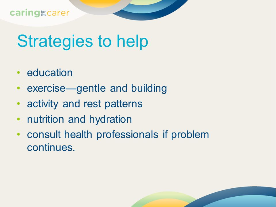 Strategies to help education exercise—gentle and building