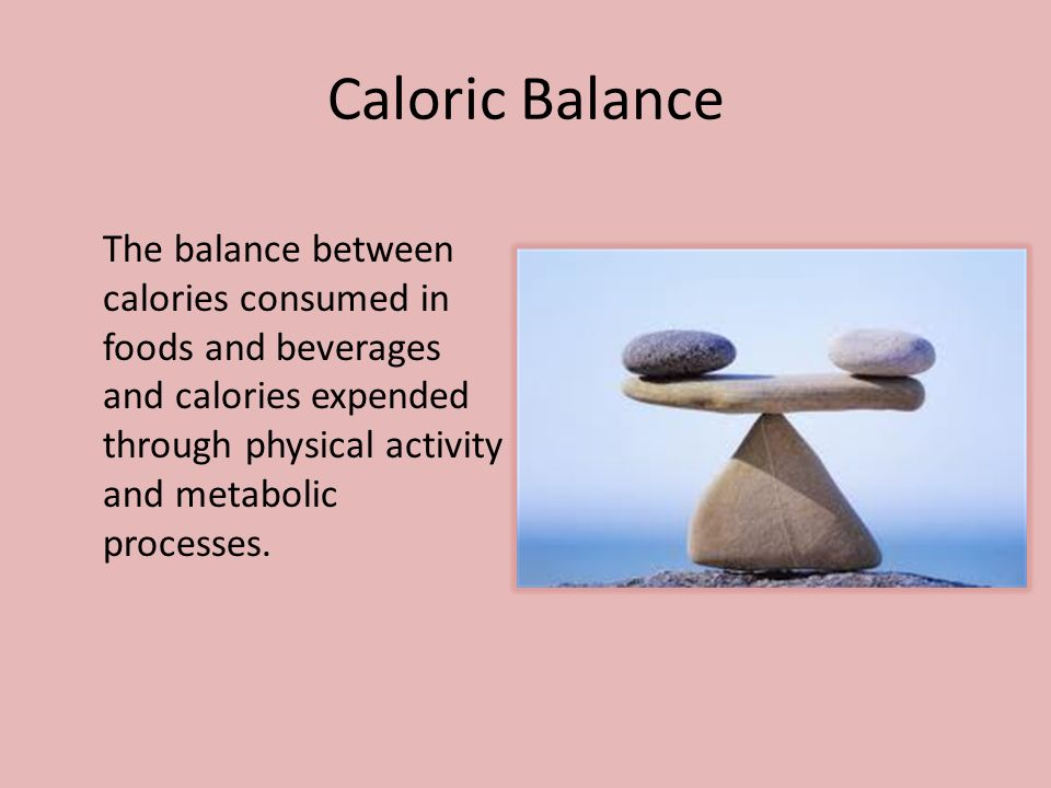 Caloric Balance The balance between calories consumed in foods and beverages and calories expended through physical activity and metabolic processes.