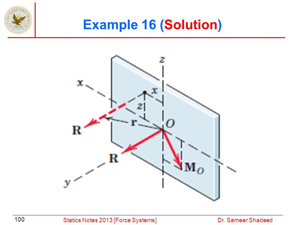 Example 16 (Solution) Statics Notes 2013 [Force Systems]