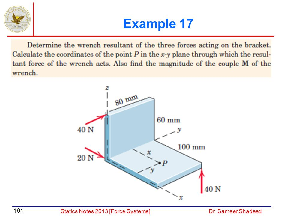 Example 17 Statics Notes 2013 [Force Systems] Dr. Sameer Shadeed