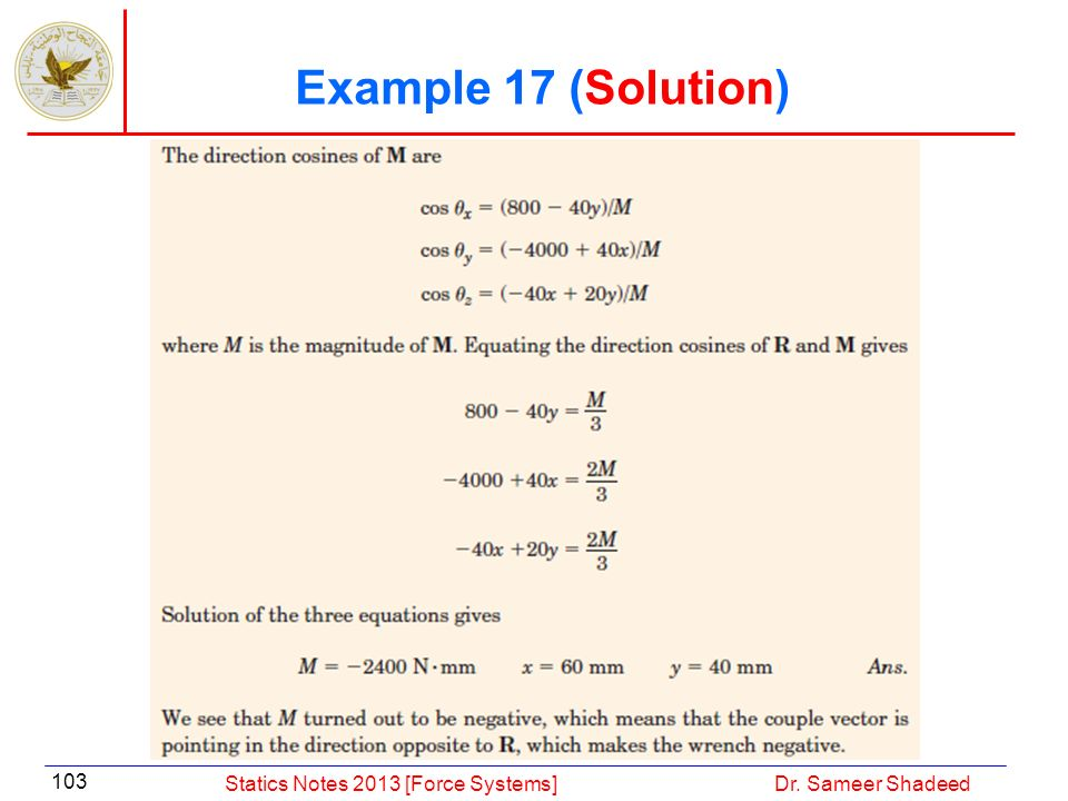 Example 17 (Solution) Statics Notes 2013 [Force Systems]