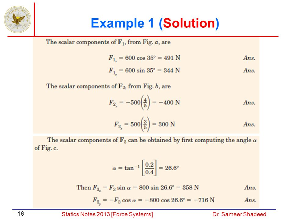Example 1 (Solution) Statics Notes 2013 [Force Systems]