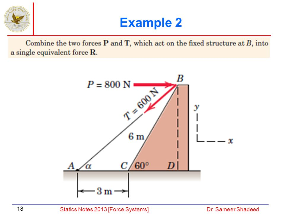 Example 2 Statics Notes 2013 [Force Systems] Dr. Sameer Shadeed