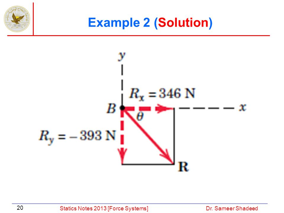 Example 2 (Solution) Statics Notes 2013 [Force Systems]