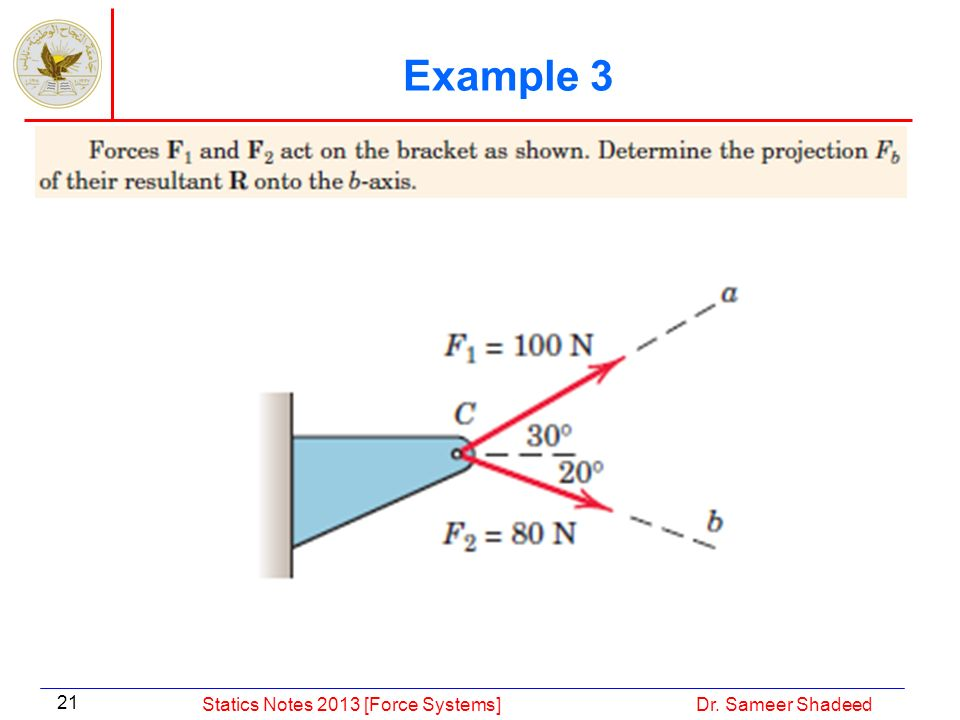 Example 3 Statics Notes 2013 [Force Systems] Dr. Sameer Shadeed