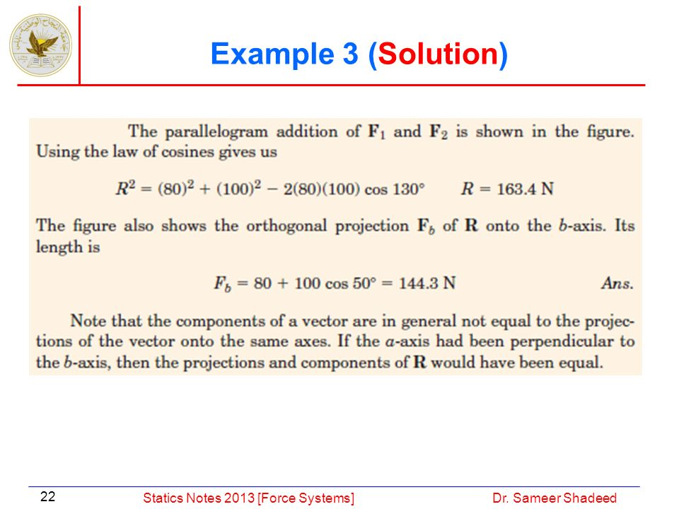 Example 3 (Solution) Statics Notes 2013 [Force Systems]
