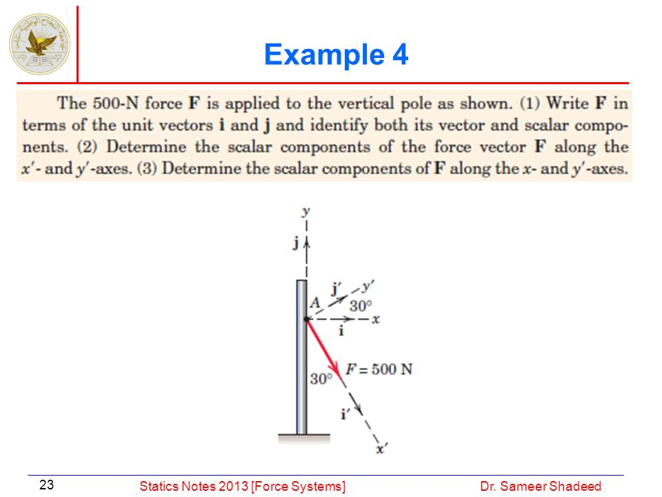 Example 4 Statics Notes 2013 [Force Systems] Dr. Sameer Shadeed