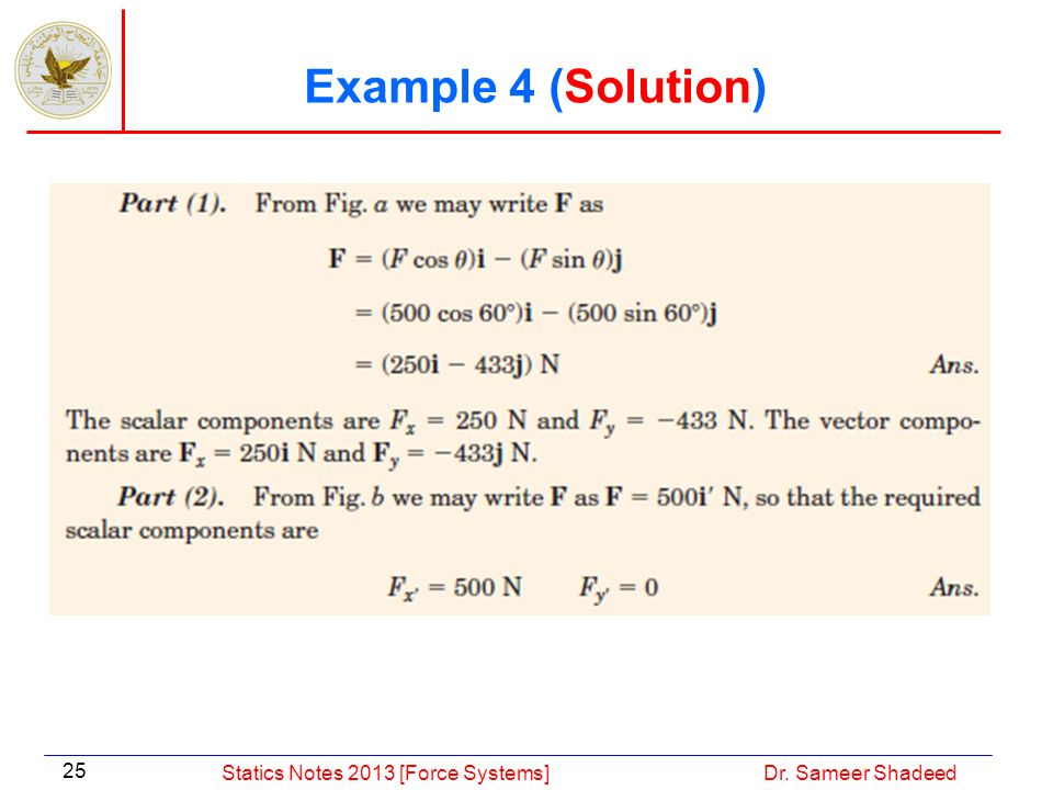 Example 4 (Solution) Statics Notes 2013 [Force Systems]