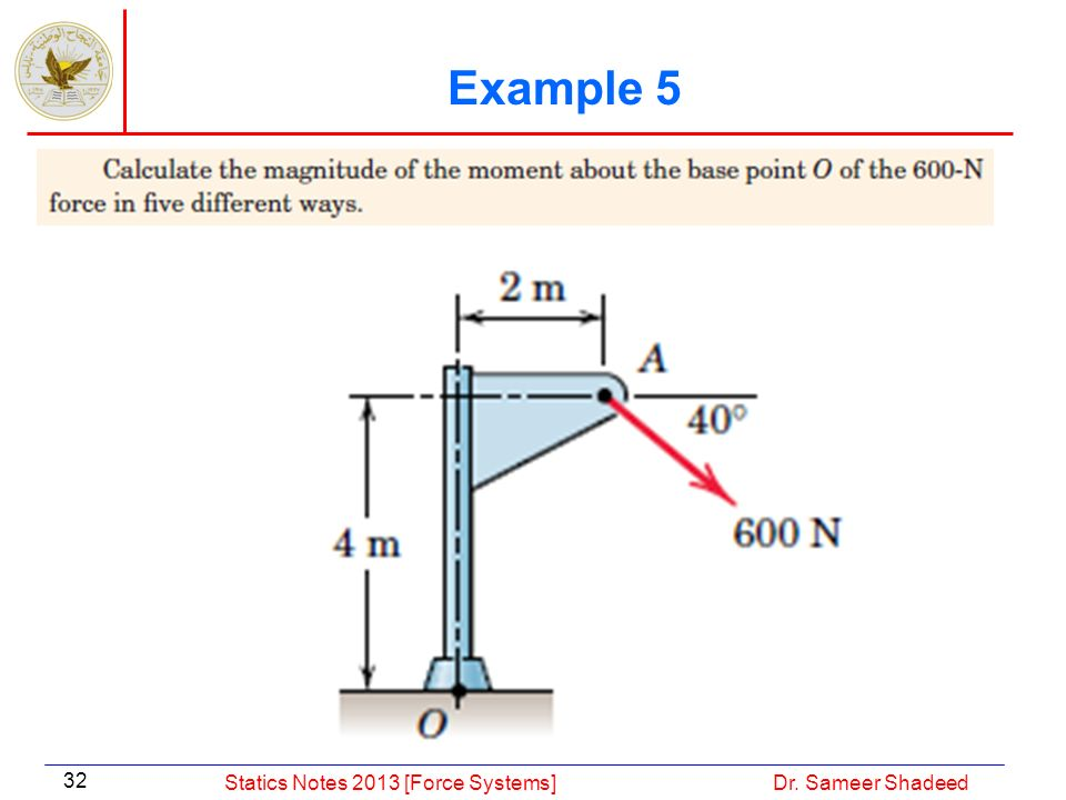 Example 5 Statics Notes 2013 [Force Systems] Dr. Sameer Shadeed