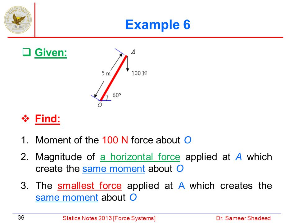 Example 6 Given: Find: Moment of the 100 N force about O