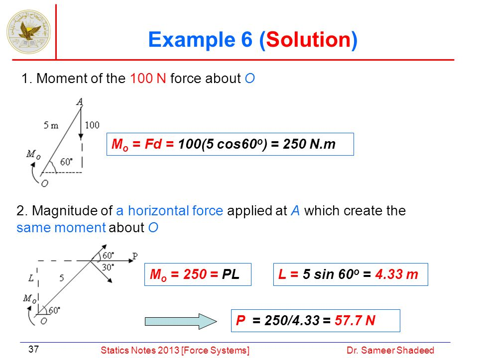Example 6 (Solution) 1. Moment of the 100 N force about O