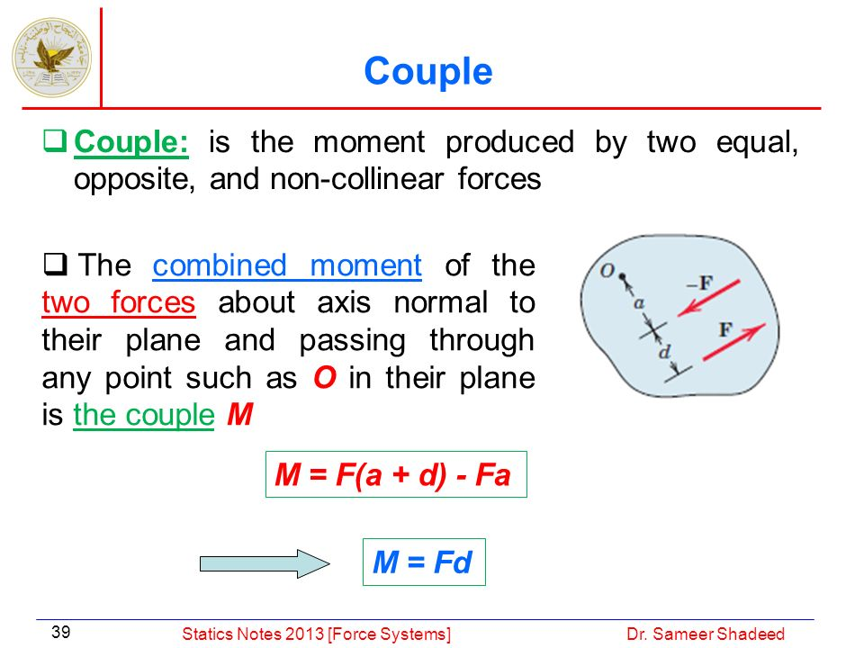 Couple Couple: is the moment produced by two equal, opposite, and non-collinear forces.