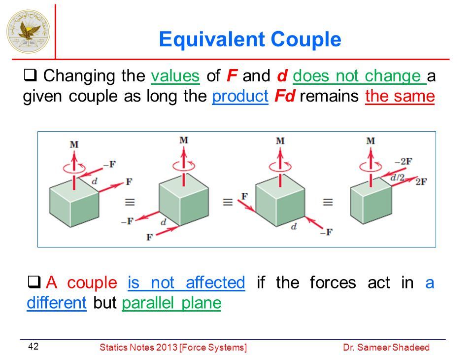 Equivalent Couple Changing the values of F and d does not change a given couple as long the product Fd remains the same.