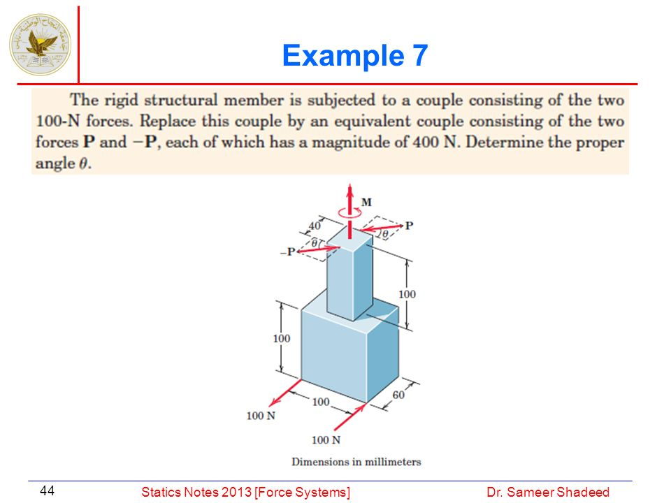 Example 7 Statics Notes 2013 [Force Systems] Dr. Sameer Shadeed