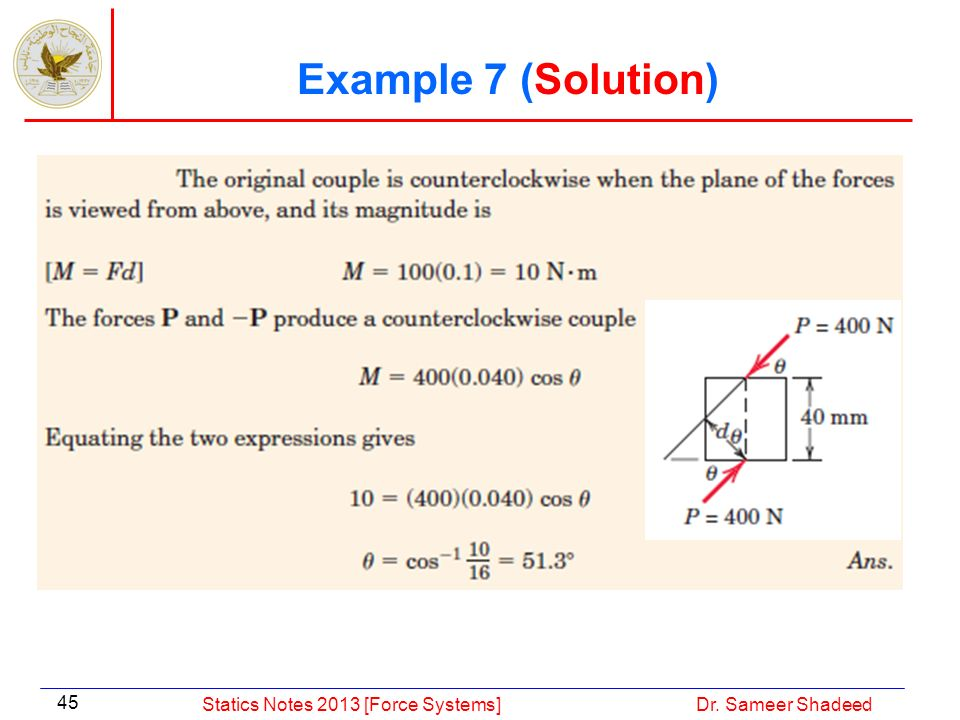 Example 7 (Solution) Statics Notes 2013 [Force Systems]