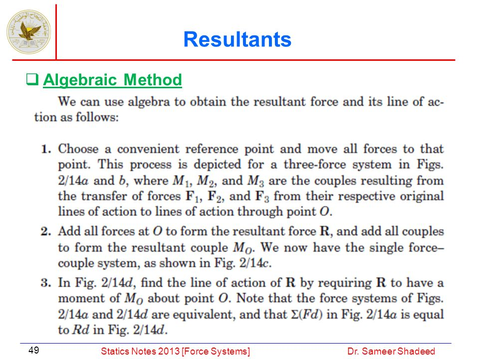 Resultants Algebraic Method Statics Notes 2013 [Force Systems]