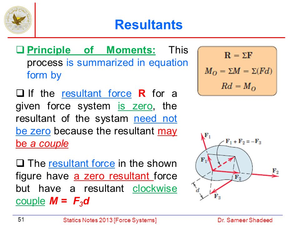 Resultants Principle of Moments: This process is summarized in equation form by.