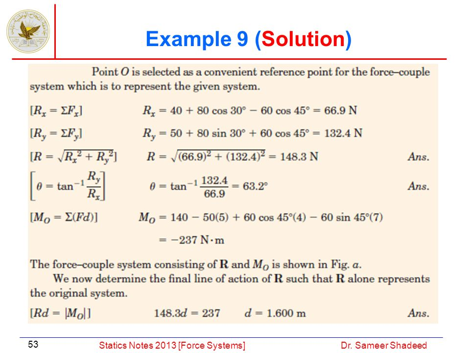 Example 9 (Solution) Statics Notes 2013 [Force Systems]