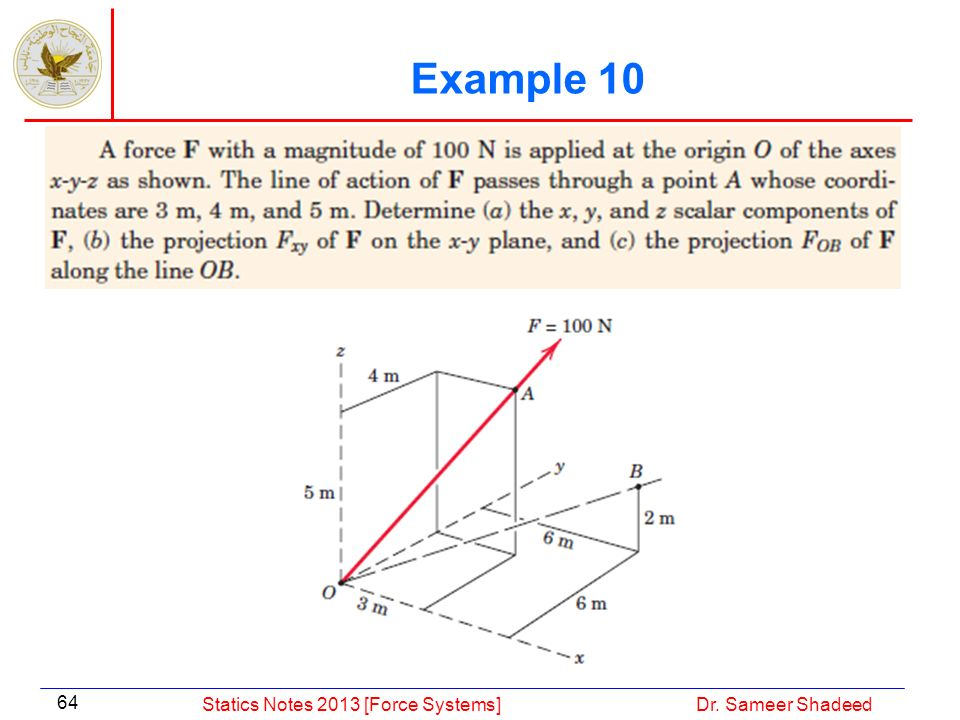 Example 10 Statics Notes 2013 [Force Systems] Dr. Sameer Shadeed
