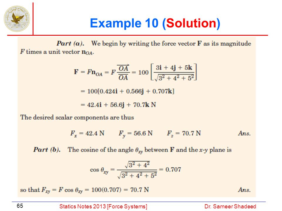 Example 10 (Solution) Statics Notes 2013 [Force Systems]