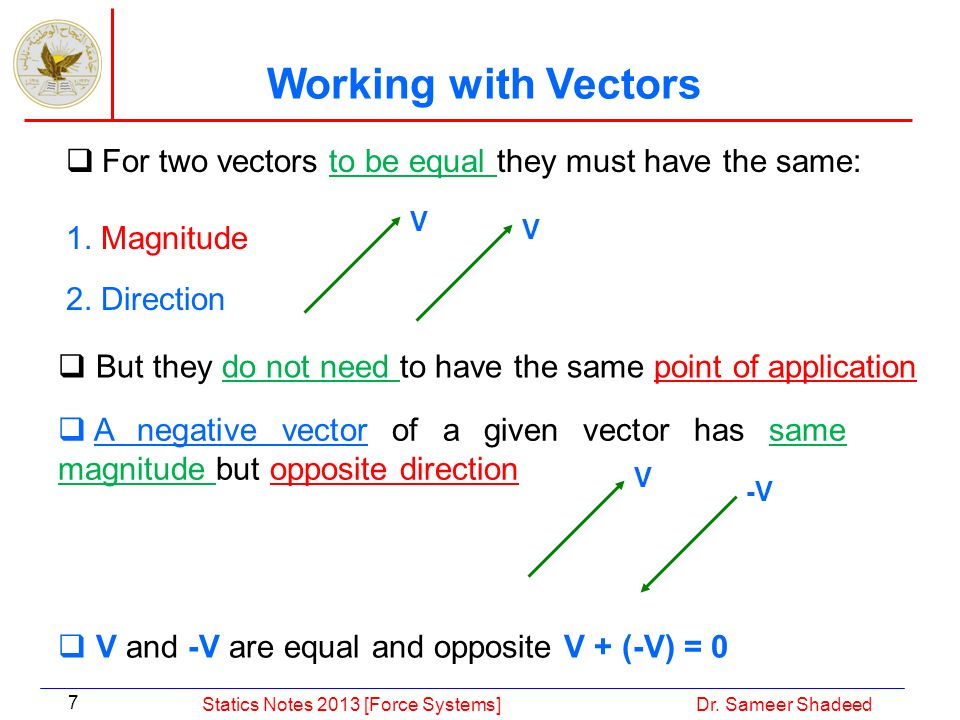 Working with Vectors For two vectors to be equal they must have the same: 1. Magnitude. 2. Direction.