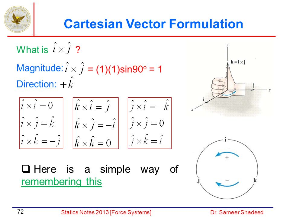 Cartesian Vector Formulation