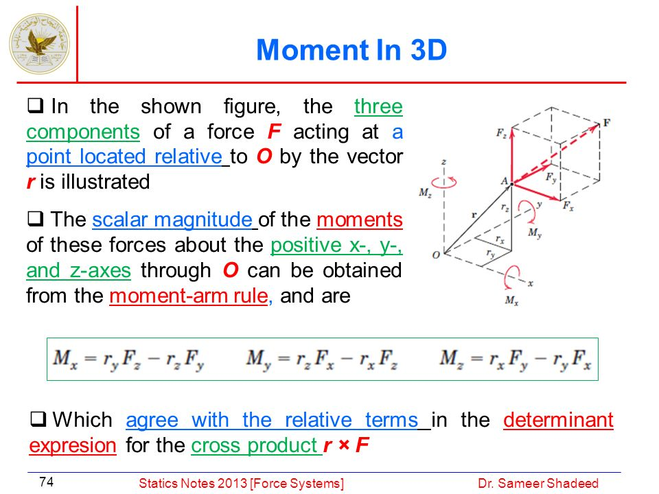 Moment In 3D In the shown figure, the three components of a force F acting at a point located relative to O by the vector r is illustrated.