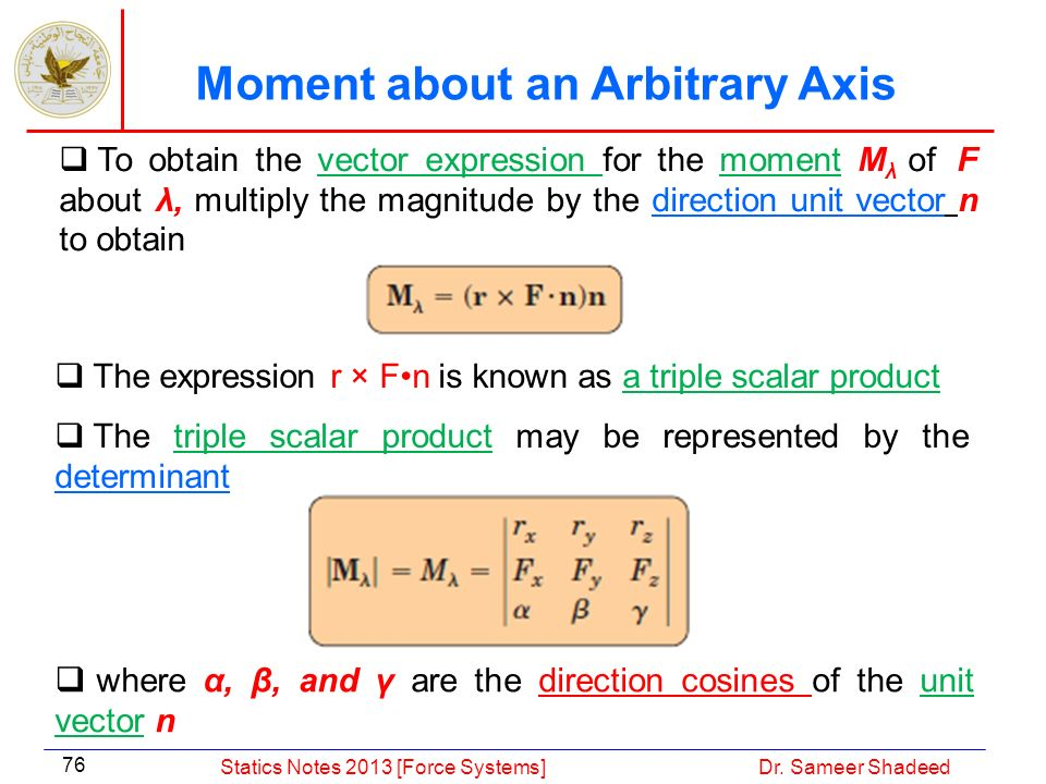 Moment about an Arbitrary Axis